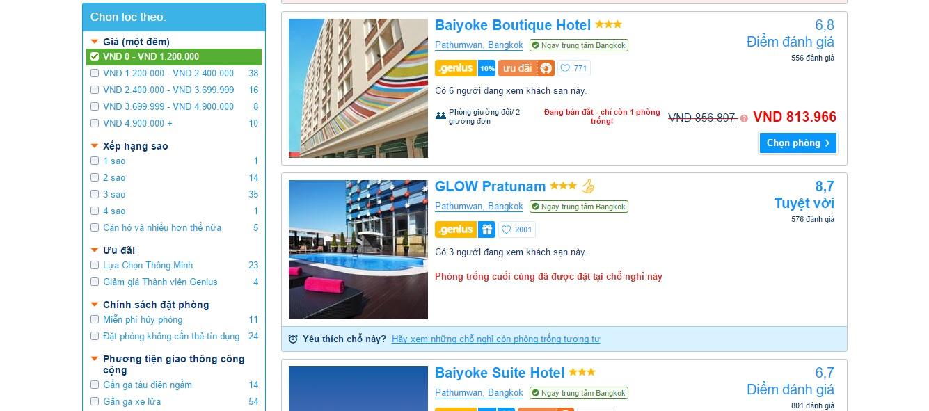 Kinh nghiệm đặt phòng khách sạn - Chọn theo giá